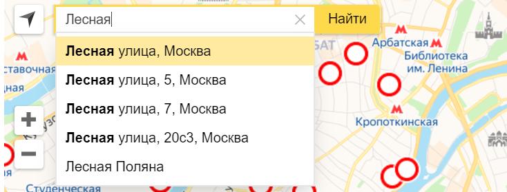 выбор адреса на карте коронавируса